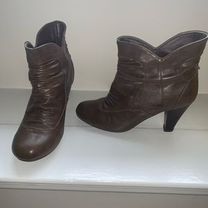 Round toe brown booties with heel